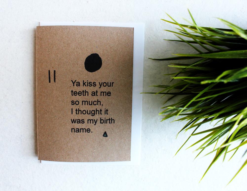 Image of Kiss Ya Teeth - Kraft Textured Card