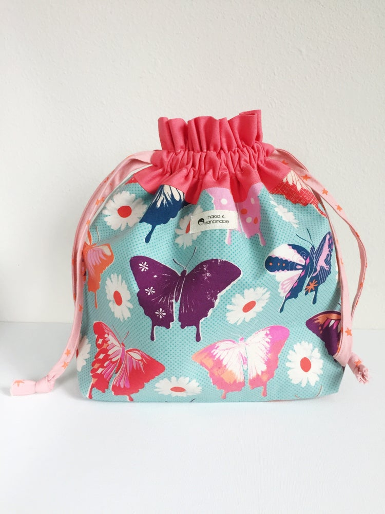 Image of Flutter By - Handmade Drawstring Project Bag