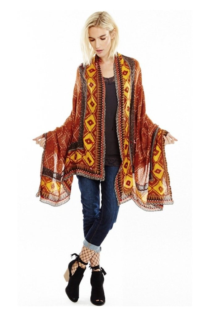 Image of Aratta Rust Tribal Chic Scarf