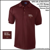 Image of SPEAR of DESTINY 'est.1983 Range' Maroon Polo Shirt