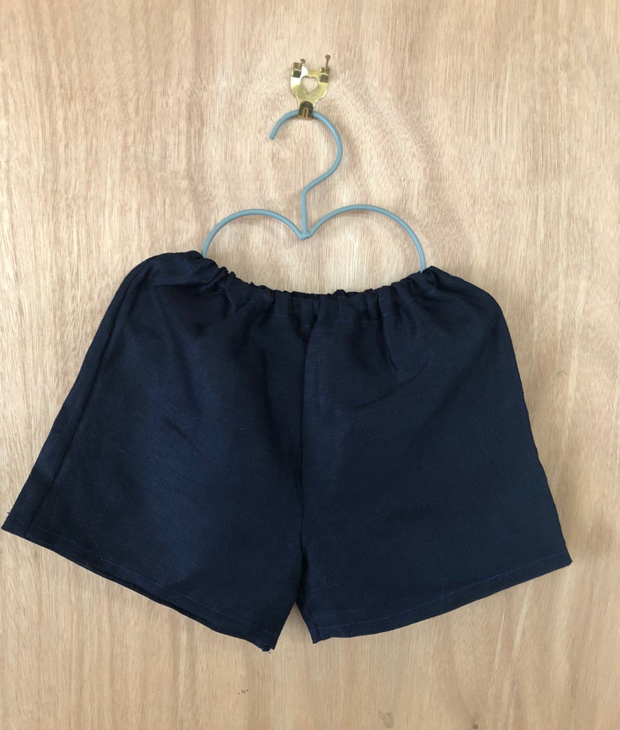 Image of Navy Linen Shorts