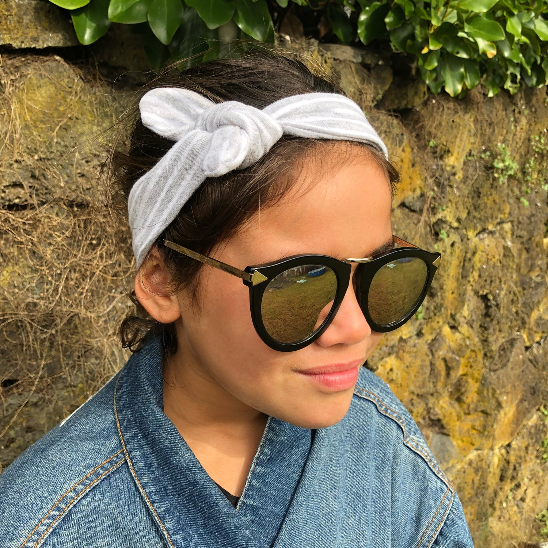Image of Grey and White Stripe Headband