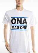 Image of The 'OnaMadOne' WHITE (Blue&Black) Tee