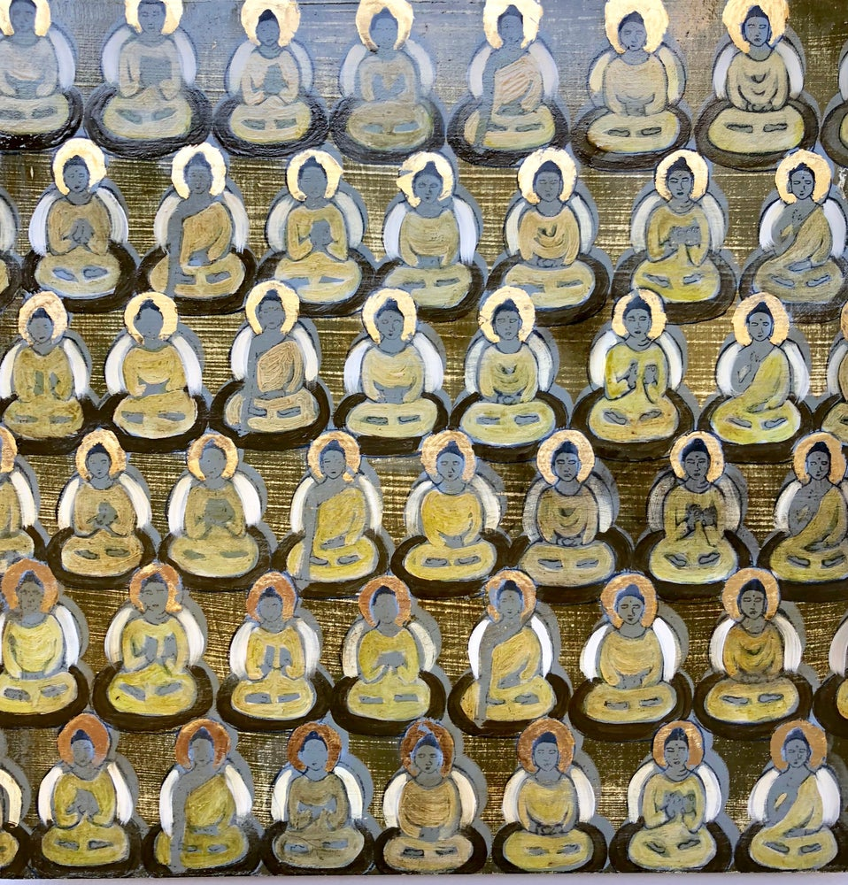 Image of Tiny Green Gold Buddhas Painting