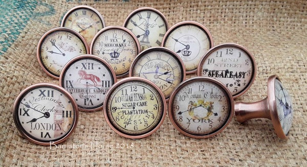 Image of VINTAGE CLOCKS, ANTIQUE COPPER, METAL DRAWER KNOBS