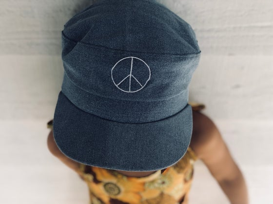 Image of PEACE chambray hat