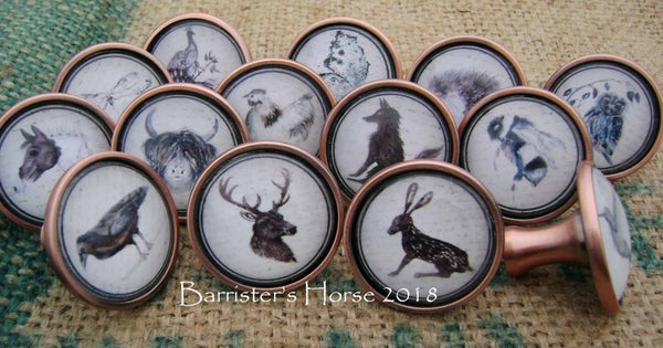 Image of WILDLIFE, ANTIQUE COPPER METAL DRAWER KNOBS