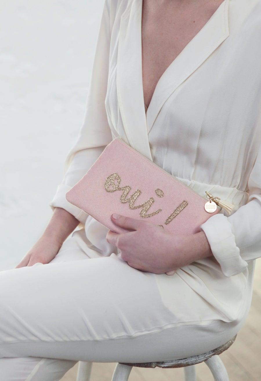 Image of Pochette *OUI!* rose et dorée
