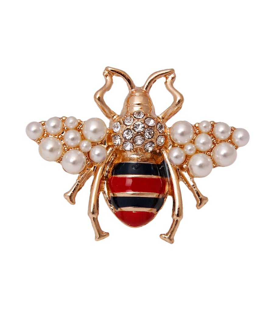 Image of Rhinestone Bee Striped Ring