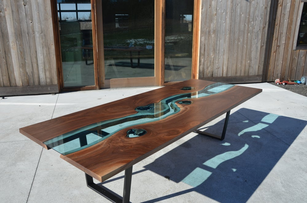 Image of 10' black walnut river dining table