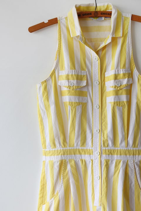 Image of SOLD Sunny Stripes Pocket Romper