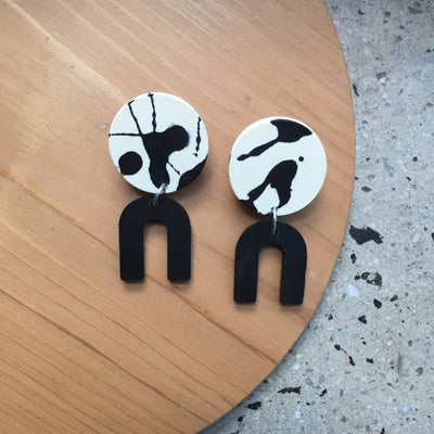 Image of Daphne Earrings - Black and white