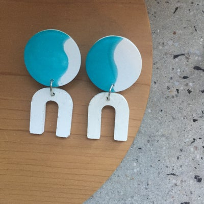 Image of Daphne earrings - turquoise and white