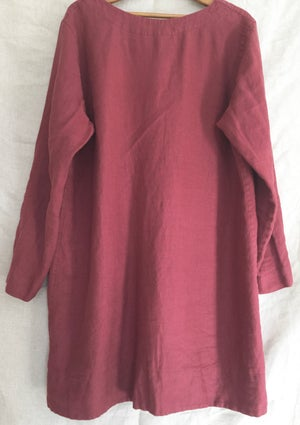 Image of long sleeve linen dress with pockets