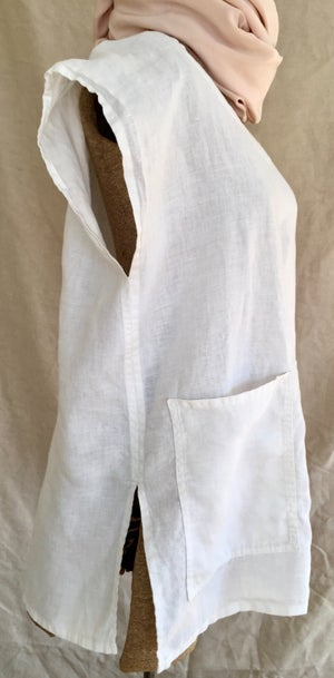Image of linen capped sleeve top