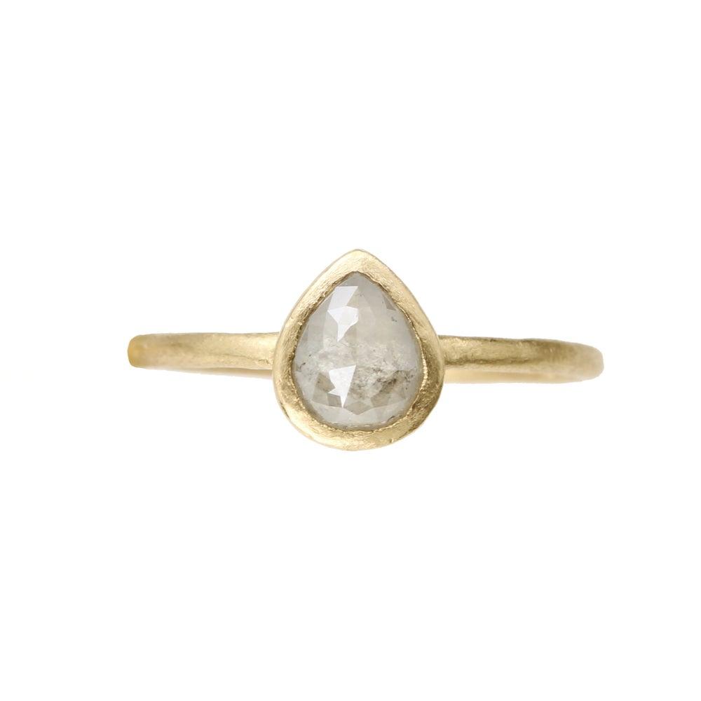 Image of Rose cut pear diamond ring. 18k. Cortez