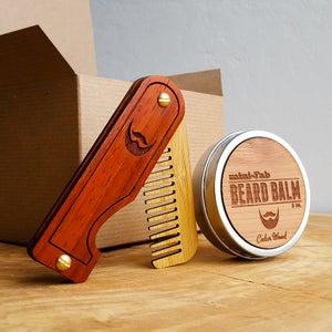 Image of Beard Grooming Kit - Comb & Balm Set - Personalized Handmade - Folding Wood Beard Comb