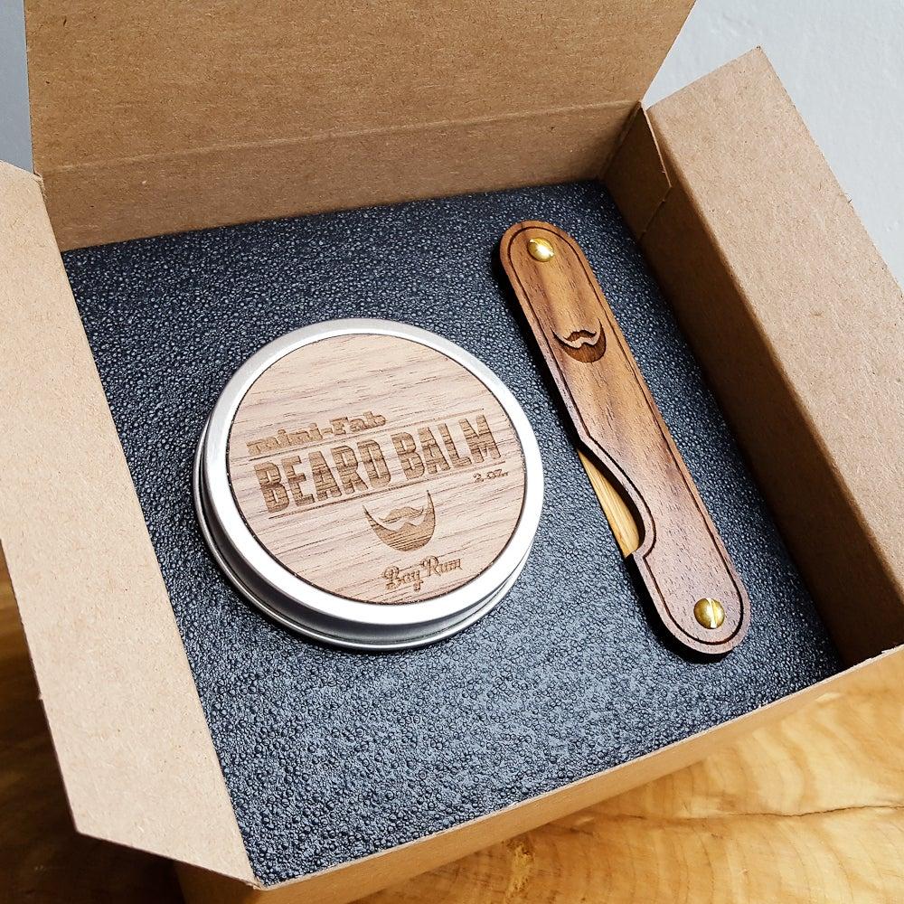 Image of Multi-tool Beard Kit with Wood Combs, Beard Balm, and Balm Knife - Grooming Set
