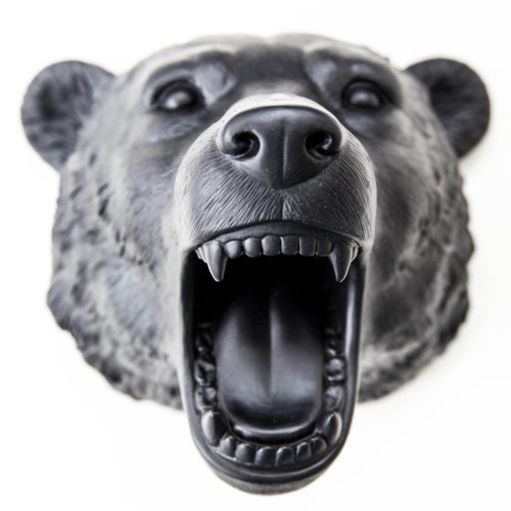 Image of Boris the bear - resin wall art (cosmic black)