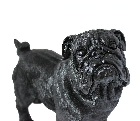 Image of Winston the bulldog - resin art / statue (cosmic black)