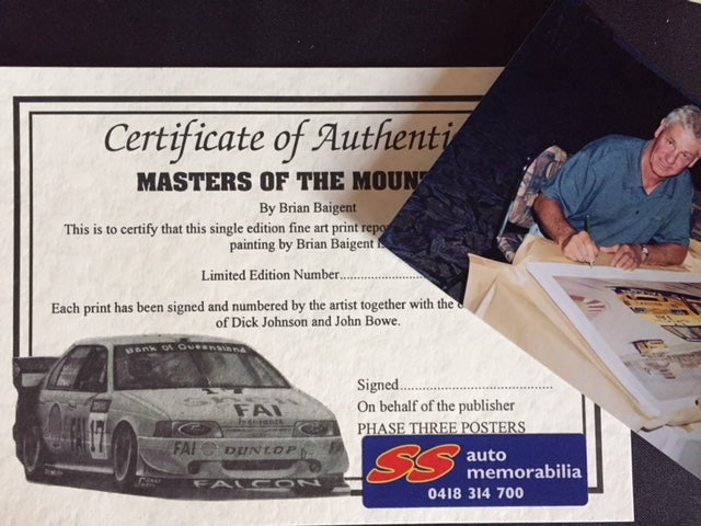 "Image of Bathurst 1994 Print Signed by Dick Johnson & John Bowe. ""Masters of the Mountain""."