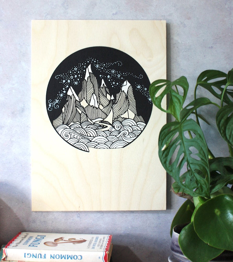 Image of Mountains are calling A4 print on plywood