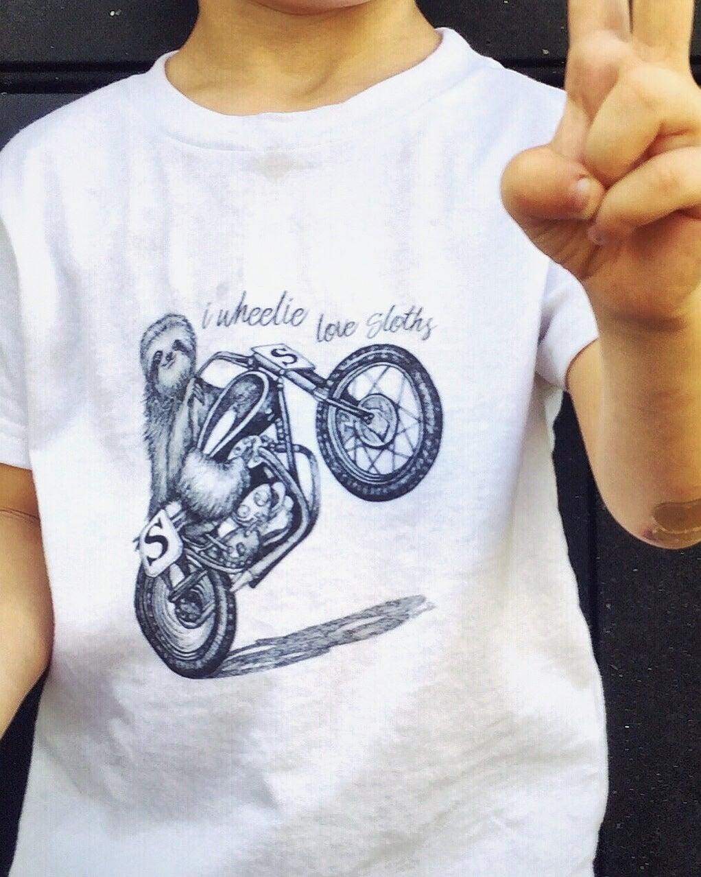 Image of WHEELIE SLOTH toddler t-shirt
