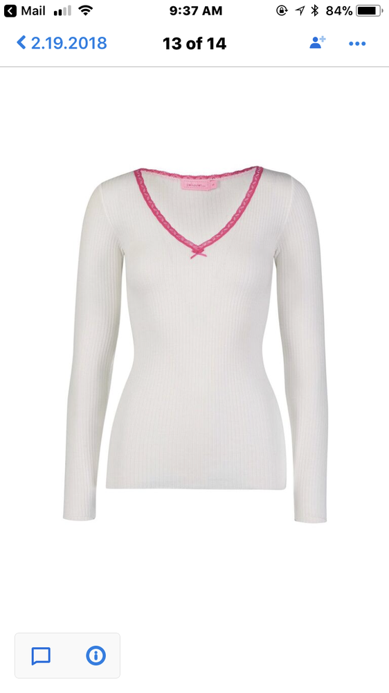 Image of White V fitted neck top