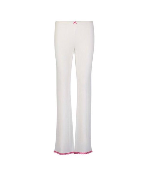 Image of White rib long pant