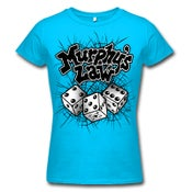 "Image of MURPHY'S LAW ""Dice"" Turquoise Girlie Shirt"
