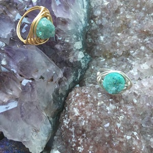 Image of Green Cosmic Ring - Aura Agate Crystal