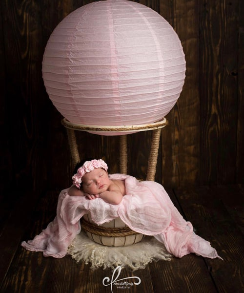 "Image of Woodsy Wonders Original ""NEWBORN"" Hot Air Balloon Basket {With Soft White Balloon}"