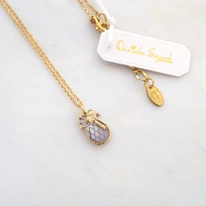 Image of Pineapple and palmtree pendant on gold plated chain