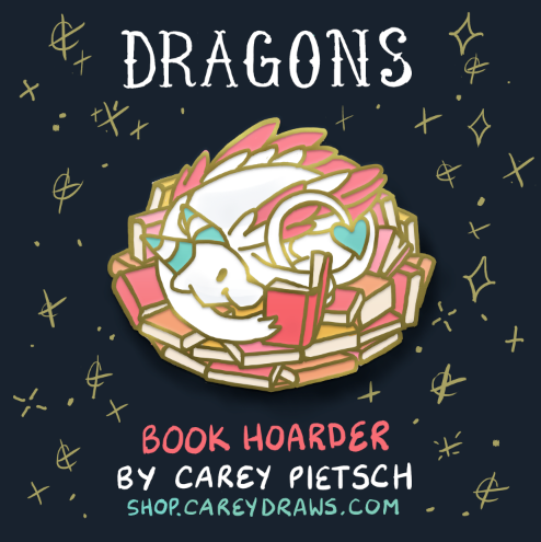 Image of Preorder: Book Hoarder Dragon hard enamel pin