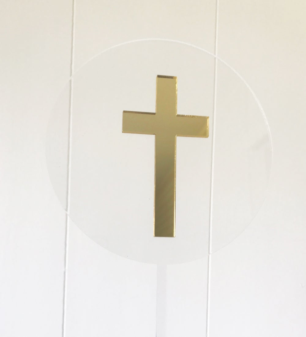 Image of Floating Cross Cake Topper