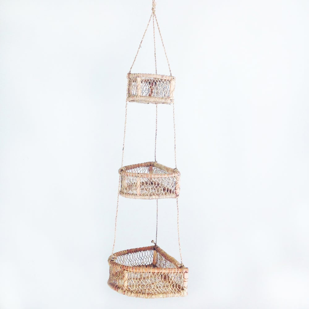 Image of Media Luna Handwoven Tree Bark Hanging Basket