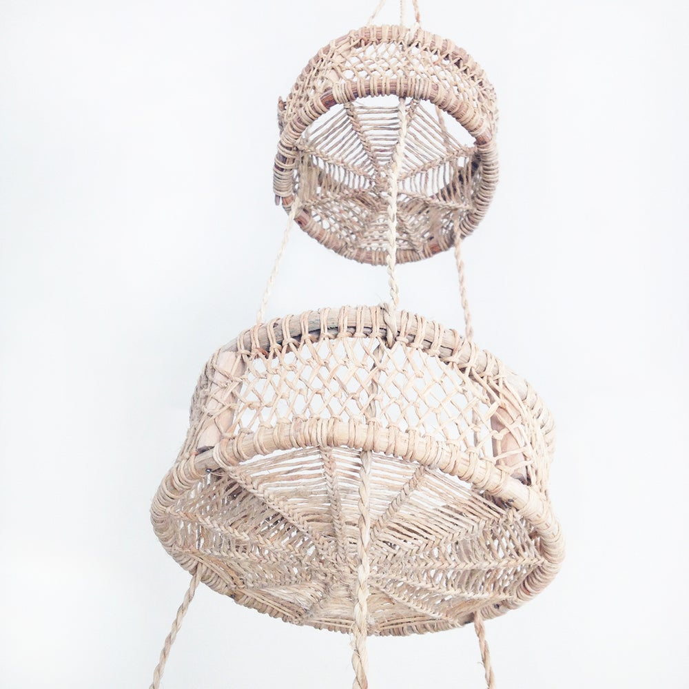 Image of Luna Handwoven Tree Bark Hanging Basket