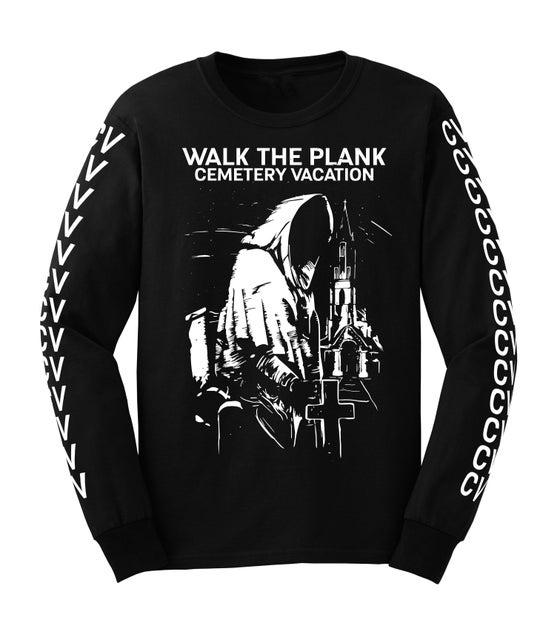 """Image of Cemetery Vacation """"Reaper"""" Long Sleeve T-Shirt (Black)"""