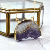 Image of Amysemi - Personalised Gold Dipped Semi-Circular Raw Amethyst Necklace