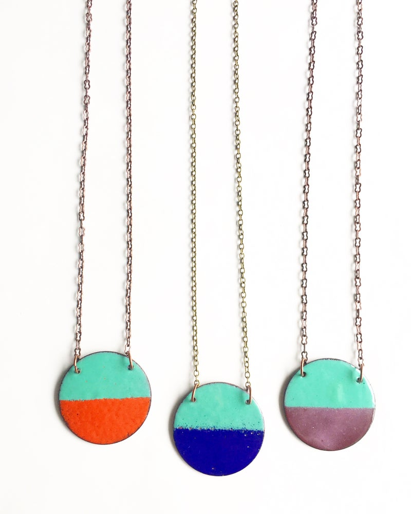 Image of Circle Enamel Necklace