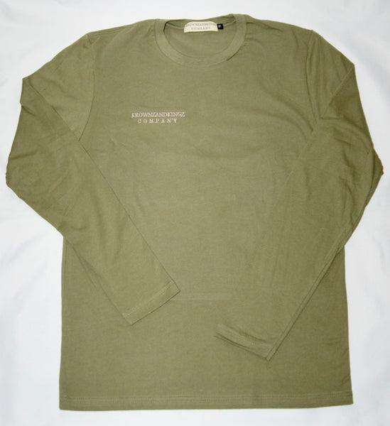 Image of Olive Green Embroidered L/S Tee