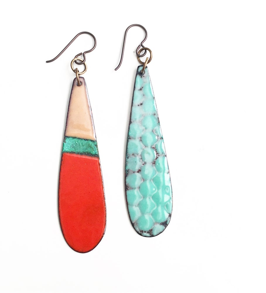 Image of Red and Patina Enamel Earrings