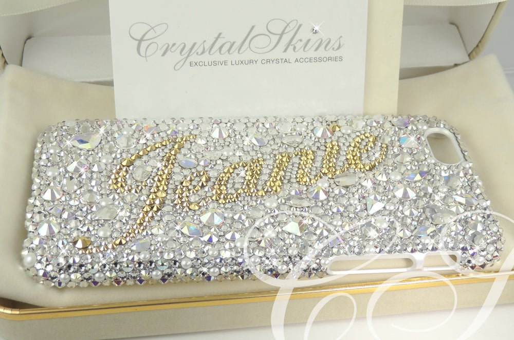 Image of Diamonds & Pearls Personalised Fully Covered Case. Crystals by Swarovski®
