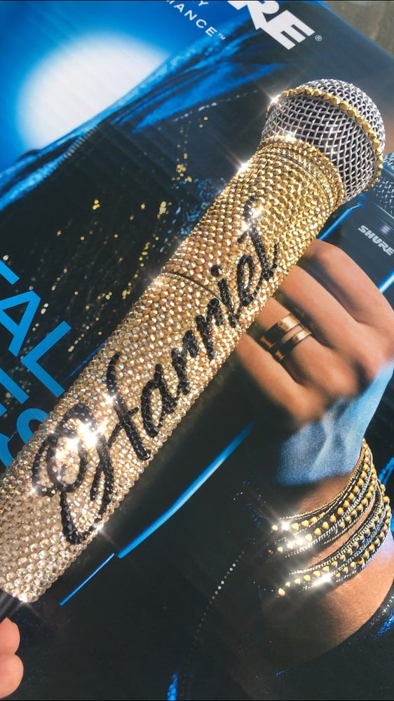 Image of Gold Ombre & Black Personalised SHURE GLXD24/SM58 DIGITAL WIRELESS SYSTEM  CRYSTALS BY SWAROVSKI®
