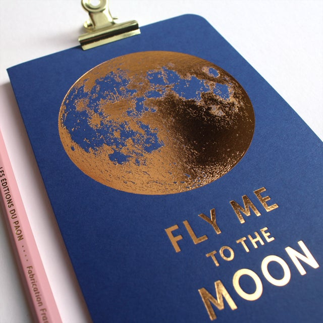 Image of CARTE FLY ME TO THE MOON BLEU SAPHIR