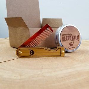 Image of Beard Comb & Balm Kit - Personalized Grooming Gift Set - Tortoise Shell Acrylic