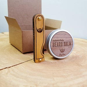 Image of Beard Comb & Balm Kit - Personalized Grooming Gift Set - Tigerlily Marble Acrylic