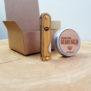 Image of Beard Comb & Balm Kit - Personalized Grooming Gift Set - White Mother of Pearl Acrylic