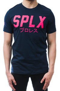 Image of SPLX Navy/Pink Logo T-Shirt