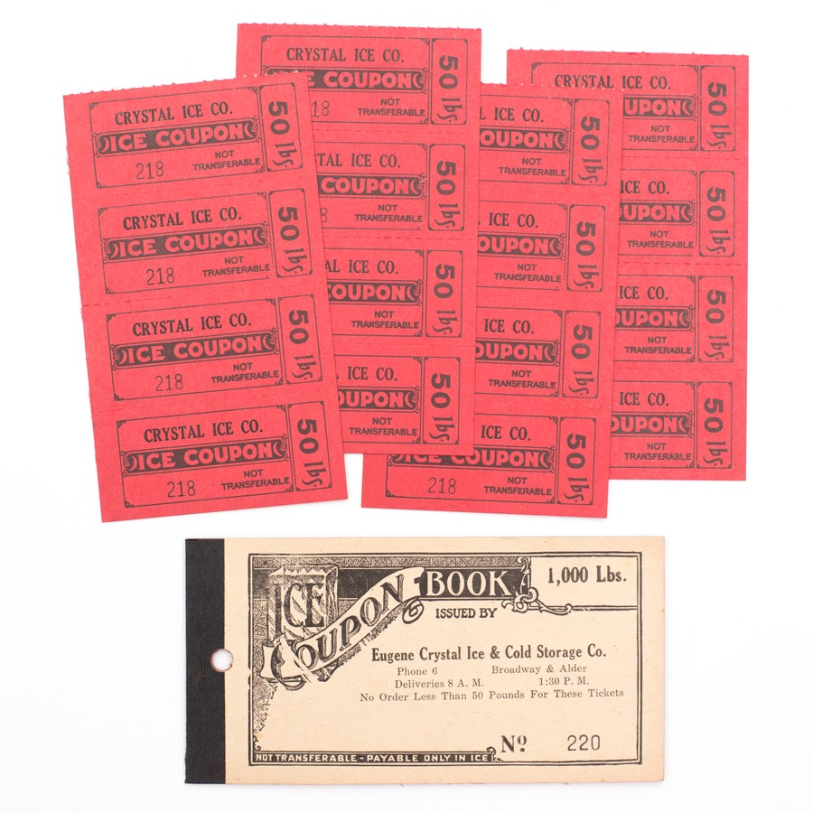 Image of 1940's Ice Coupon Ticket Booklet - Red